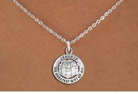 "<bR>                 EXCLUSIVELY OURS!!<BR>           AN ALLAN ROBIN DESIGN!!<BR>  CLICK HERE TO SEE 1000+ EXCITING<BR>     CHANGES THAT YOU CAN MAKE!<BR> CADMIUM, LEAD & NICKEL FREE!! <BR>W1316SN - ROUND SILVER TONE <BR>""GREATEST GIFT"" CHRISTMAS CHARM <BR>& NECKLACE FROM $4.50 TO $8.35 �2012"