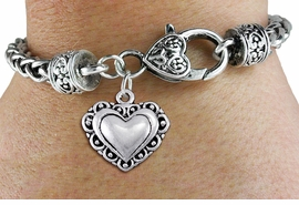 <bR>                 EXCLUSIVELY OURS!!<BR>           AN ALLAN ROBIN DESIGN!!<BR>  CLICK HERE TO SEE 1000+ EXCITING<BR>     CHANGES THAT YOU CAN MAKE!<BR> CADMIUM, LEAD & NICKEL FREE!! <BR>W1321SB - ANTIQUED SILVER TONE <BR>SCRIPT HEART CHARM & HEART CLASP <BR>BRACELET FROM $3.94 TO $8.75 �2012