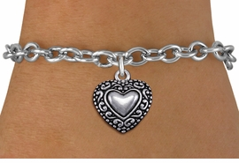 <bR>                 EXCLUSIVELY OURS!!<BR>           AN ALLAN ROBIN DESIGN!!<BR>  CLICK HERE TO SEE 1000+ EXCITING<BR>     CHANGES THAT YOU CAN MAKE!<BR> CADMIUM, LEAD & NICKEL FREE!! <BR>W1327SB - ANTIQUED SILVER TONE <BR>SCRIPT HEART CHARM & BRACELET <BR>        FROM $4.15 TO $8.00 �2012