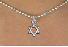 <bR>                EXCLUSIVELY OURS!!<BR>          AN ALLAN ROBIN DESIGN!!<BR> CLICK HERE TO SEE 1000+ EXCITING<BR>    CHANGES THAT YOU CAN MAKE!<BR>CADMIUM, LEAD & NICKEL FREE!! <BR>W1330SN - SMALL SILVER TONE <BR>STAR OF DAVID CHARM & NECKLACE <BR>     FROM $4.50 TO $8.35 �2012