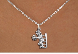 <bR>                EXCLUSIVELY OURS!!<BR>          AN ALLAN ROBIN DESIGN!!<BR> CLICK HERE TO SEE 1000+ EXCITING<BR>    CHANGES THAT YOU CAN MAKE!<BR>CADMIUM, LEAD & NICKEL FREE!! <BR> W1348SN - ANTIQUED SILVER TONE <BR>FIREMAN ON LADDER CHARM & NECKLACE <BR>     FROM $4.50 TO $8.35 �2012
