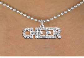"<bR>               EXCLUSIVELY OURS!! <Br>          AN ALLAN ROBIN DESIGN!! <BR> CLICK HERE TO SEE 1000+ EXCITING <BR>       CHANGES THAT YOU CAN MAKE! <BR>    LEAD, NICKEL & CADMIUM FREE!! <BR> 1410SN - SILVER TONE AND CRYSTAL <BR>  ""CHEER"" WORD CHARM AND NECKLACE <BR>        FROM $5.40 TO $9.85 �2013"