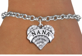 "<bR>                   EXCLUSIVELY OURS!!<Br>             AN ALLAN ROBIN DESIGN!!<BR>    CLICK HERE TO SEE 1000+ EXCITING<BR>       CHANGES THAT YOU CAN MAKE!<BR>       LEAD, NICKEL & CADMIUM FREE!!<BR>W1345SB - AUSTRIAN CRYSTAL ""NANA"" <BR>              HEART CHARM & BRACELET <BR>           FROM $5.40 TO $9.85 �2012"