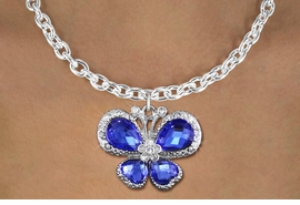 <bR>                    EXCLUSIVELY OURS!! <Br>                AN ALLAN ROBIN DESIGN!! <BR>       CLICK HERE TO SEE 1000+ EXCITING <BR>          CHANGES THAT YOU CAN MAKE! <BR>         LEAD, NICKEL & CADMIUM FREE!! <BR>  W1395SN - SILVER TONE AND BLUE <BR> CRYSTAL BUTTERFLY CHARM AND NECKLACE <BR>             FROM $5.40 TO $9.85 �2013