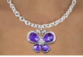 <bR>                    EXCLUSIVELY OURS!! <Br>                AN ALLAN ROBIN DESIGN!! <BR>       CLICK HERE TO SEE 1000+ EXCITING <BR>          CHANGES THAT YOU CAN MAKE! <BR>         LEAD, NICKEL & CADMIUM FREE!! <BR>  W1397SN - SILVER TONE AND PURPLE <BR> CRYSTAL BUTTERFLY CHARM AND NECKLACE <BR>             FROM $5.40 TO $9.85 �2013