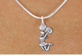<bR>                 EXCLUSIVELY OURS!! <Br>            AN ALLAN ROBIN DESIGN!! <BR>   CLICK HERE TO SEE 1000+ EXCITING <BR>         CHANGES THAT YOU CAN MAKE! <BR>      LEAD, NICKEL & CADMIUM FREE!! <BR>  W1409SN - SILVER TONE AND CRYSTAL <BR> JUMPING CHEERLEADER CHARM NECKLACE <BR>          FROM $5.40 TO $9.85 �2013