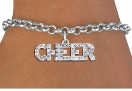 "<bR>                EXCLUSIVELY OURS!! <Br>           AN ALLAN ROBIN DESIGN!! <BR>  CLICK HERE TO SEE 1000+ EXCITING <BR>        CHANGES THAT YOU CAN MAKE! <BR>     LEAD, NICKEL & CADMIUM FREE!! <BR> W1410SB - SILVER TONE AND CRYSTAL <BR>     ""CHEER"" WORD CHARM & BRACELET <BR>         FROM $5.40 TO $9.85 �2013"
