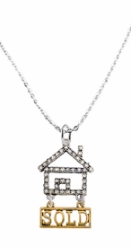 "<bR>                            EXCLUSIVELY OURS!! <Br>                       AN ALLAN ROBIN DESIGN!! <BR>              CLICK HERE TO SEE 1000+ EXCITING <BR>                    CHANGES THAT YOU CAN MAKE! <BR>                 LEAD, NICKEL & CADMIUM FREE!! <BR> W1722N1 - SILVER AND GOLD TONE REALTY ""SOLD"" <BR>CLEAR CRYSTAL HOUSE CHARM ON CHAIN NECKLACE <BR>                     FROM $5.98 TO $12.85 �2015"