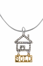 "<bR>                            EXCLUSIVELY OURS!! <Br>                       AN ALLAN ROBIN DESIGN!! <BR>              CLICK HERE TO SEE 1000+ EXCITING <BR>                    CHANGES THAT YOU CAN MAKE! <BR>                  LEAD, NICKEL & CADMIUM FREE!! <BR>W1722N2 - SILVER AND GOLD TONE REALTY ""SOLD"" <BR>CLEAR CRYSTAL HOUSE CHARM ON A SNAKE CHAIN<BR> NECKLACE BRACELET FROM $5.98 TO $12.85 �2015"