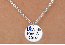 "<bR>                   EXCLUSIVELY OURS!!<BR>             AN ALLAN ROBIN DESIGN!!<BR>    CLICK HERE TO SEE 1000+ EXCITING<BR>       CHANGES THAT YOU CAN MAKE!<BR>                   LEAD & NICKEL FREE!! <BR>W1305SN - BLUE RIBBON AWARENESS <BR>""I WALK FOR A CURE"" CHILD'S NECKLACE <BR>      FROM $4.50 TO $8.35 �2012"