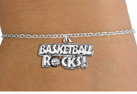 "<bR>                    EXCLUSIVELY OURS!! <BR>               AN ALLAN ROBIN DESIGN!!<BR>      CLICK HERE TO SEE 1000+ EXCITING <BR>         CHANGES THAT YOU CAN MAKE! <BR>                    LEAD & NICKEL FREE!! <BR>     W1377SB - ""BASKETBALL ROCKS"" <BR>     SILVER TONE CHARM & BRACELET <Br>             FROM $4.15 TO $8.00 ©2012"