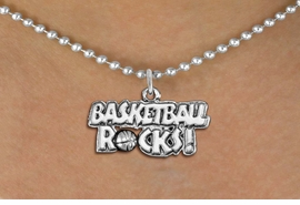 "<bR>                    EXCLUSIVELY OURS!! <BR>               AN ALLAN ROBIN DESIGN!!<BR>      CLICK HERE TO SEE 1000+ EXCITING <BR>         CHANGES THAT YOU CAN MAKE! <BR>                    LEAD & NICKEL FREE!! <BR>     W1377SB - ""BASKETBALL ROCKS"" <BR>      SILVER TONE CHARM & NECKLACE<Br>             FROM $4.50 TO $8.35 �2012"