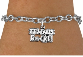 "<bR>                    EXCLUSIVELY OURS!! <BR>               AN ALLAN ROBIN DESIGN!!<BR>      CLICK HERE TO SEE 1000+ EXCITING <BR>         CHANGES THAT YOU CAN MAKE! <BR>                    LEAD & NICKEL FREE!! <BR>           W1379SB - ""TENNIS ROCKS"" <BR>       SILVER TONE CHARM & BRACELET <Br>             FROM $4.15 TO $8.00 ©2012"