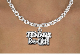 "<bR>                    EXCLUSIVELY OURS!! <BR>               AN ALLAN ROBIN DESIGN!!<BR>      CLICK HERE TO SEE 1000+ EXCITING <BR>         CHANGES THAT YOU CAN MAKE! <BR>                    LEAD & NICKEL FREE!! <BR>           W1379SB - ""TENNIS ROCKS"" <BR>        SILVER TONE CHARM & NECKLACE<Br>             FROM $4.50 TO $8.35 �2012"
