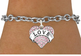 "<bR>               EXCLUSIVELY OURS!!<Br>         AN ALLAN ROBIN DESIGN!! <BR>CLICK HERE TO SEE 120+ EXCITING<BR>   CHANGES THAT YOU CAN MAKE!<BR>    LEAD, NICKEL & CADMIUM FREE!!<BR>  W1137SB - ROSE CRYSTAL ""LOVE"" <BR>       HEART CHARM & BRACELET <BR>      FROM $5.40 TO $9.85 �2012"