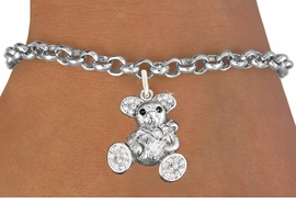 <bR>                   EXCLUSIVELY OURS!!<Br>             AN ALLAN ROBIN DESIGN!!<BR>    CLICK HERE TO SEE 120+ EXCITING<BR>       CHANGES THAT YOU CAN MAKE!<BR>        LEAD, NICKEL & CADMIUM FREE!!<BR>W1189SB - CRYSTAL TEDDY BEAR CHARM <Br>  & BRACELET FROM $5.40 TO $9.85 �2012