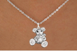 <bR>                      EXCLUSIVELY OURS!!<Br>                AN ALLAN ROBIN DESIGN!!<BR>       CLICK HERE TO SEE 120+ EXCITING<BR>          CHANGES THAT YOU CAN MAKE!<BR>          LEAD, NICKEL & CADMIUM FREE!!<BR>W1189SN - CRYSTAL TEDDY BEAR CHARM<BR> & NECKLACE FROM $5.40 TO $9.85 �2012