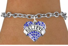 "<bR>               EXCLUSIVELY OURS!!<Br>         AN ALLAN ROBIN DESIGN!! <BR>CLICK HERE TO SEE 120+ EXCITING<BR>   CHANGES THAT YOU CAN MAKE!<BR>   LEAD, NICKEL & CADMIUM FREE!!<BR>W1210SB - BLUE CRYSTAL ""BELIEVE"" <BR>          HEART CHARM & BRACELET <BR>        FROM $5.40 TO $9.85 �2012"