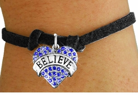 "<bR>               EXCLUSIVELY OURS!!<Br>         AN ALLAN ROBIN DESIGN!! <BR>CLICK HERE TO SEE 120+ EXCITING<BR>   CHANGES THAT YOU CAN MAKE!<BR>   LEAD, NICKEL & CADMIUM FREE!!<BR>W1210SB - BLUE CRYSTAL ""BELIEVE"" <BR> HEART CHARM & CHILDS BRACELET <BR>        FROM $5.40 TO $9.85 �2012"