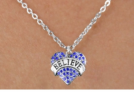 "<bR>               EXCLUSIVELY OURS!!<Br>         AN ALLAN ROBIN DESIGN!! <BR>CLICK HERE TO SEE 120+ EXCITING<BR>   CHANGES THAT YOU CAN MAKE!<BR>    LEAD, NICKEL & CADMIUM FREE!!<BR>W1210SN - BLUE CRYSTAL ""BELIEVE"" <BR>HEART CHARM & CHILDS NECKLACE <BR>      FROM $5.40 TO $9.85 �2012"