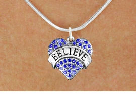 "<bR>               EXCLUSIVELY OURS!!<Br>         AN ALLAN ROBIN DESIGN!! <BR>CLICK HERE TO SEE 120+ EXCITING<BR>   CHANGES THAT YOU CAN MAKE!<BR>    LEAD, NICKEL & CADMIUM FREE!!<BR>W1210SN - BLUE CRYSTAL ""BELIEVE"" <BR>        HEART CHARM & NECKLACE <BR>      FROM $5.40 TO $9.85 �2012"