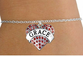 "<bR>               EXCLUSIVELY OURS!!<Br>         AN ALLAN ROBIN DESIGN!!<BR>CLICK HERE TO SEE 120+ EXCITING<BR>   CHANGES THAT YOU CAN MAKE!<BR>   LEAD, NICKEL & CADMIUM FREE!!<BR>W1213SB - RED CRYSTAL ""GRACE"" <BR>HEART CHARM & CHILDS BRACELET <BR>     FROM $5.40 TO $9.85 �2012"