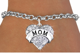 "<bR>                   EXCLUSIVELY OURS!!<Br>             AN ALLAN ROBIN DESIGN!!<BR>    CLICK HERE TO SEE 120+ EXCITING<BR>       CHANGES THAT YOU CAN MAKE!<BR>       LEAD, NICKEL & CADMIUM FREE!!<BR>W1215SB - AUSTRIAN CRYSTAL ""MOM"" <BR>              HEART CHARM & BRACELET <BR>           FROM $5.40 TO $9.85 �2012"