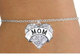 "<bR>                   EXCLUSIVELY OURS!!<Br>             AN ALLAN ROBIN DESIGN!!<BR>    CLICK HERE TO SEE 120+ EXCITING<BR>       CHANGES THAT YOU CAN MAKE!<BR>       LEAD, NICKEL & CADMIUM FREE!!<BR>W1215SB - AUSTRIAN CRYSTAL ""MOM"" <BR>     HEART CHARM & CHILDS BRACELET <BR>           FROM $5.40 TO $9.85 �2012"