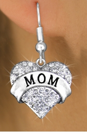 "<bR>                 EXCLUSIVELY OURS!!<Br>           AN ALLAN ROBIN DESIGN!!<BR>  CLICK HERE TO SEE 120+ EXCITING<BR>     CHANGES THAT YOU CAN MAKE!<BR>     LEAD, NICKEL & CADMIUM FREE!!<BR>W1215SE - AUSTRIAN CRYSTAL ""MOM"" <BR>           HEART CHARM EARRINGS <BR>       FROM $4.95 TO $10.00 �2012"