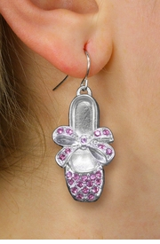 <bR>                 EXCLUSIVELY OURS!!<Br>           AN ALLAN ROBIN DESIGN!!<BR>  CLICK HERE TO SEE 120+ EXCITING<BR>     CHANGES THAT YOU CAN MAKE!<BR>     LEAD, NICKEL & CADMIUM FREE!!<BR>W1270SE - BALLERINA SHOE WITH BOW <BR>PINK CRYSTAL CHARM EARRINGS <BR>       FROM $4.95 TO $10.00 �2012
