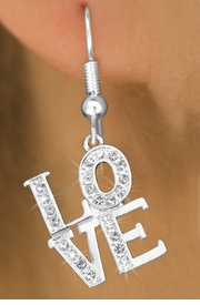 "<bR>                 EXCLUSIVELY OURS!!<Br>           AN ALLAN ROBIN DESIGN!!<BR>  CLICK HERE TO SEE 120+ EXCITING<BR>     CHANGES THAT YOU CAN MAKE!<BR>     LEAD, NICKEL & CADMIUM FREE!!<BR>         W1273SE - BEAUTIFUL ""LOVE"" <BR>      CRYSTAL CHARM EARRINGS <BR>       FROM $4.95 TO $10.00 �2012"