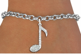 "<bR>               EXCLUSIVELY OURS!!<Br>         AN ALLAN ROBIN DESIGN!! <BR>CLICK HERE TO SEE 120+ EXCITING <BR>   CHANGES THAT YOU CAN MAKE!<BR>   LEAD, NICKEL & CADMIUM FREE!! <BR>     W1275SB - ""MUSIC NOTE"" <BR>     CRYSTAL CHARM & BRACELET <BR>     FROM $5.40 TO $9.85 �2012"