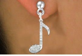 "<bR>                 EXCLUSIVELY OURS!!<Br>           AN ALLAN ROBIN DESIGN!!<BR>  CLICK HERE TO SEE 120+ EXCITING<BR>     CHANGES THAT YOU CAN MAKE!<BR>     LEAD, NICKEL & CADMIUM FREE!!<BR>         W1275SE - ""MUSIC NOTE"" <BR>      CRYSTAL CHARM EARRINGS <BR>       FROM $4.95 TO $10.00 �2012"