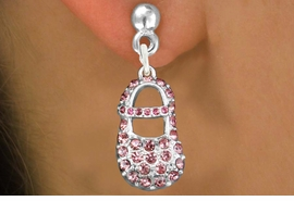 "<bR>                 EXCLUSIVELY OURS!!<Br>           AN ALLAN ROBIN DESIGN!!<BR>  CLICK HERE TO SEE 120+ EXCITING<BR>     CHANGES THAT YOU CAN MAKE!<BR>     LEAD, NICKEL & CADMIUM FREE!!<BR>    W1276SE - ""GIRL'S BABY SHOE"" <BR>   PINK CRYSTAL CHARM EARRINGS <BR>       FROM $4.95 TO $10.00 �2012"
