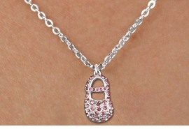 "<bR>                  EXCLUSIVELY OURS!!<Br>            AN ALLAN ROBIN DESIGN!!<BR>   CLICK HERE TO SEE 120+ EXCITING<BR>      CHANGES THAT YOU CAN MAKE!<BR>     LEAD, NICKEL & CADMIUM FREE!!<BR>  W1276SN - ""GIRL'S BABY SHOE"" PINK <BR>CRYSTAL CHARM AND CHILDS NECKLACE <BR>         FROM $5.40 TO $9.85 �2012"