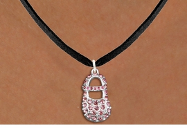 "<bR>                  EXCLUSIVELY OURS!!<Br>            AN ALLAN ROBIN DESIGN!!<BR>   CLICK HERE TO SEE 120+ EXCITING<BR>      CHANGES THAT YOU CAN MAKE!<BR>     LEAD, NICKEL & CADMIUM FREE!!<BR>        W1276SN - ""GIRL'S BABY SHOE"" <BR>PINK CRYSTAL CHARM AND NECKLACE <BR>         FROM $5.40 TO $9.85 �2012"
