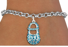 "<bR>               EXCLUSIVELY OURS!!<Br>         AN ALLAN ROBIN DESIGN!! <BR>CLICK HERE TO SEE 120+ EXCITING <BR>   CHANGES THAT YOU CAN MAKE!<BR>   LEAD, NICKEL & CADMIUM FREE!! <BR>      W1277SB - ""BOY'S BABY SHOE""  <BR> BLUE CRYSTAL CHARM & BRACELET <BR>     FROM $5.40 TO $9.85 �2012"