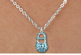 "<bR>                  EXCLUSIVELY OURS!!<Br>            AN ALLAN ROBIN DESIGN!!<BR>   CLICK HERE TO SEE 120+ EXCITING<BR>      CHANGES THAT YOU CAN MAKE!<BR>     LEAD, NICKEL & CADMIUM FREE!!<BR>        W1277SN - ""BOY'S BABY SHOE"" BLUE <BR>CRYSTAL CHARM AND CHILDS NECKLACE <BR>         FROM $5.40 TO $9.85 �2012"