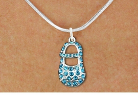 "<bR>                  EXCLUSIVELY OURS!!<Br>            AN ALLAN ROBIN DESIGN!!<BR>   CLICK HERE TO SEE 120+ EXCITING<BR>      CHANGES THAT YOU CAN MAKE!<BR>     LEAD, NICKEL & CADMIUM FREE!!<BR>        W1277SN - ""BOY'S BABY SHOE"" <BR>BLUE CRYSTAL CHARM AND NECKLACE <BR>         FROM $5.40 TO $9.85 �2012"