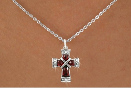 <bR>                      EXCLUSIVELY OURS!!<Br>                AN ALLAN ROBIN DESIGN!!<BR>       CLICK HERE TO SEE 120+ EXCITING<BR>          CHANGES THAT YOU CAN MAKE!<BR>                     LEAD & NICKEL FREE!!<BR>W1083SN - RUBY CRYSTAL CROSS CHARM<BR> & NECKLACE FROM $5.40 TO $9.85 �2011