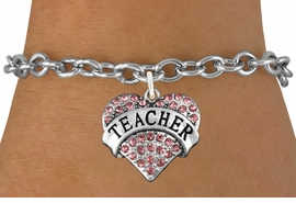 "<bR>               EXCLUSIVELY OURS!!<Br>         AN ALLAN ROBIN DESIGN!!<BR>CLICK HERE TO SEE 120+ EXCITING<BR>   CHANGES THAT YOU CAN MAKE!<BR>              LEAD & NICKEL FREE!!<BR>W1242SB - ROSE CRYSTAL ""TEACHER"" <BR>         HEART CHARM & BRACELET <BR>       FROM $5.40 TO $9.85 �2012"