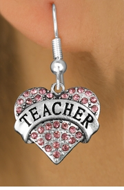 "<bR>               EXCLUSIVELY OURS!!<Br>         AN ALLAN ROBIN DESIGN!!<BR>CLICK HERE TO SEE 120+ EXCITING<BR>   CHANGES THAT YOU CAN MAKE!<BR>              LEAD & NICKEL FREE!!<BR>W1242SE - ROSE CRYSTAL ""TEACHER"" <BR>          HEART CHARM  EARRINGS <BR>       FROM $4.95 TO $10.00 �2012"