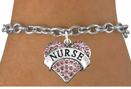 "<bR>               EXCLUSIVELY OURS!!<Br>         AN ALLAN ROBIN DESIGN!!<BR>CLICK HERE TO SEE 120+ EXCITING<BR>   CHANGES THAT YOU CAN MAKE!<BR>              LEAD & NICKEL FREE!!<BR>  W1243SB - ROSE CRYSTAL ""NURSE"" <BR>         HEART CHARM & BRACELET <BR>       FROM $5.40 TO $9.85 �2012"