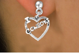 "<bR>               EXCLUSIVELY OURS!!<Br>         AN ALLAN ROBIN DESIGN!!<BR>CLICK HERE TO SEE 120+ EXCITING<BR>   CHANGES THAT YOU CAN MAKE!<BR>              LEAD & NICKEL FREE!!<BR>     W606SE - ""I LOVE COWBOYS""<Br>     & EARRINGS FROM $4.50 TO $8.35"