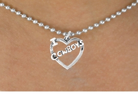 "<bR>               EXCLUSIVELY OURS!!<Br>         AN ALLAN ROBIN DESIGN!!<BR>CLICK HERE TO SEE 120+ EXCITING<BR>   CHANGES THAT YOU CAN MAKE!<BR>              LEAD & NICKEL FREE!!<BR>     W606SN - ""I LOVE COWBOYS""<BR>     & NECKLACE AS LOW AS $4.50"