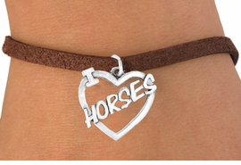 "<bR>               EXCLUSIVELY OURS!!<Br>         AN ALLAN ROBIN DESIGN!!<BR>CLICK HERE TO SEE 120+ EXCITING<BR>   CHANGES THAT YOU CAN MAKE!<BR>              LEAD & NICKEL FREE!!<BR>       W608SB - ""I LOVE HORSES""<Br>      & BRACELET AS LOW AS $4.50"