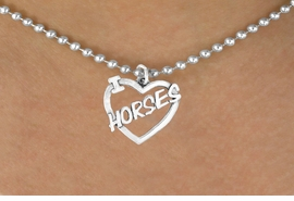 """<bR>               EXCLUSIVELY OURS!!<Br>         AN ALLAN ROBIN DESIGN!!<BR>CLICK HERE TO SEE 120+ EXCITING<BR>   CHANGES THAT YOU CAN MAKE!<BR>              LEAD & NICKEL FREE!!<BR>       W608SN - """"I LOVE HORSES""""<BR>     & NECKLACE AS LOW AS $4.50"""