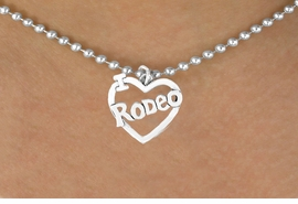 "<bR>               EXCLUSIVELY OURS!!<Br>         AN ALLAN ROBIN DESIGN!!<BR>CLICK HERE TO SEE 120+ EXCITING<BR>   CHANGES THAT YOU CAN MAKE!<BR>              LEAD & NICKEL FREE!!<BR>         W612SN - ""I LOVE RODEO""<BR>     & NECKLACE AS LOW AS $4.50"
