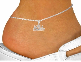 "<bR>                 EXCLUSIVELY OURS!!<BR>           AN ALLAN ROBIN DESIGN!!<BR> CLICK HERE TO SEE 120+ EXCITING<BR>    CHANGES THAT YOU CAN MAKE!<BR>               LEAD & NICKEL FREE!!<BR>     W650SAK - ""I LOVE A COWBOY""<Br>     & ANKLET FROM $4.50 TO $8.35"
