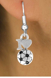 "<bR>                EXCLUSIVELY OURS!!<Br>          AN ALLAN ROBIN DESIGN!!<BR> CLICK HERE TO SEE 120+ EXCITING<BR>    CHANGES THAT YOU CAN MAKE!<BR>               LEAD & NICKEL FREE!!<BR>         W654SE - ""I LOVE SOCCER""<Br>      & EARRINGS FROM $4.50 TO $8.35"